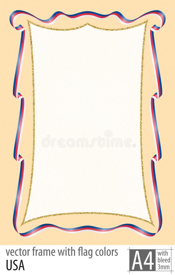 Vue et frontière de ruban avec les couleurs du drapeau des Etats-Unis, avec la grille protectrice Vecteur, avec la purge trois mi illustration libre de droits