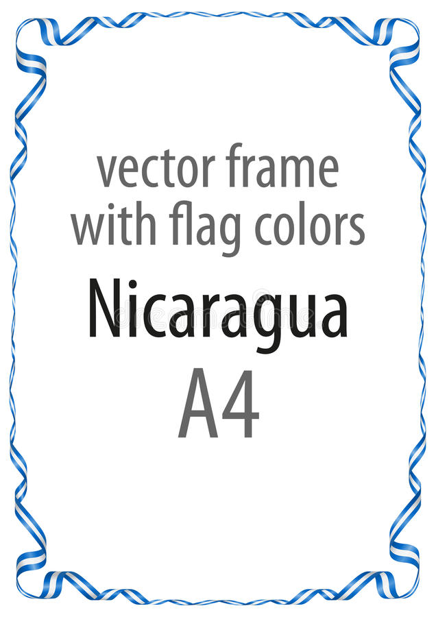 Vue et frontière de ruban avec les couleurs du drapeau du Nicaragua photographie stock libre de droits