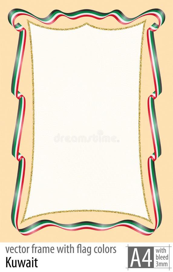 Vue et frontière de ruban avec les couleurs du drapeau du Kowéit, avec la grille protectrice Vecteur, avec la purge trois millimè illustration de vecteur