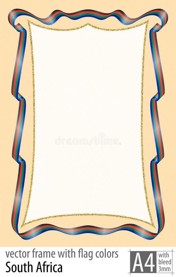 Vue et frontière de ruban avec les couleurs du drapeau de l'Afrique du Sud, avec la grille protectrice Vecteur, avec la purge tro illustration stock
