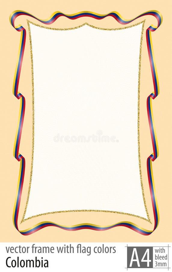 Vue et frontière de ruban avec les couleurs du drapeau de la Colombie, avec la grille protectrice Vecteur, avec la purge trois mi illustration stock