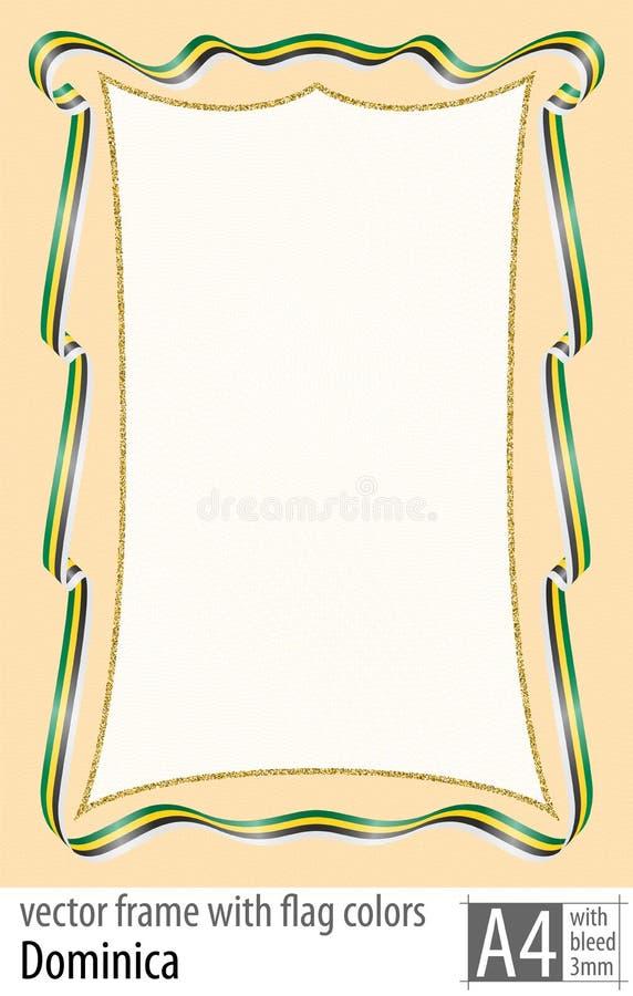 Vue et frontière de ruban avec les couleurs du drapeau de la Dominique, avec la grille protectrice Vecteur, avec la purge trois m illustration libre de droits