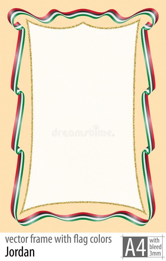 Vue et frontière de ruban avec les couleurs du drapeau de la Jordanie, avec la grille protectrice Vecteur, avec la purge trois mi illustration libre de droits