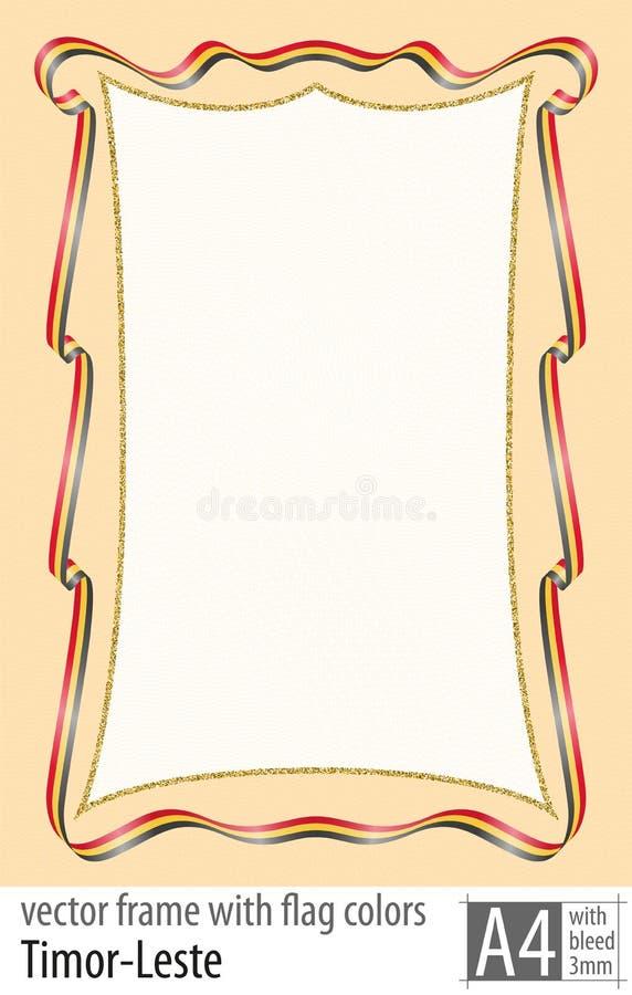 Vue et frontière de ruban avec les couleurs du drapeau de Timor-Leste, avec la grille protectrice Vecteur, avec la purge trois mi illustration de vecteur