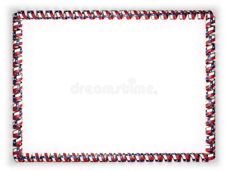 Vue et frontière du ruban avec le drapeau du Texas d'état, Etats-Unis, affilant de la corde d'or illustration 3D illustration de vecteur
