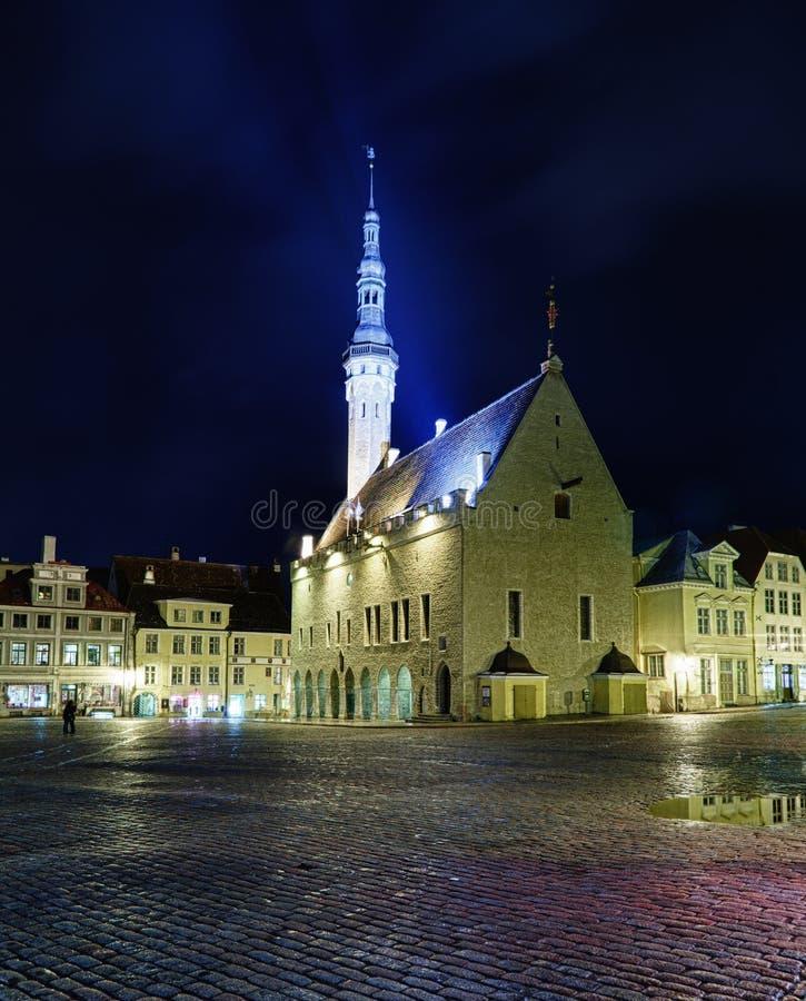 Vue exceptionnelle d'hôtel de ville de Tallinn image libre de droits