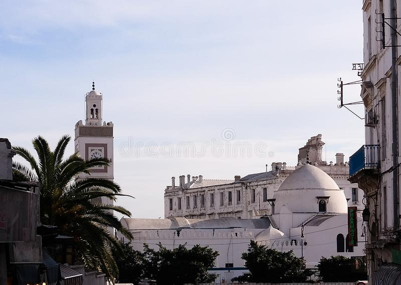Vue extérieure à la mosquée d'Al-Djedid de Djamaa, Casbah d'Alger, Algérie photographie stock libre de droits