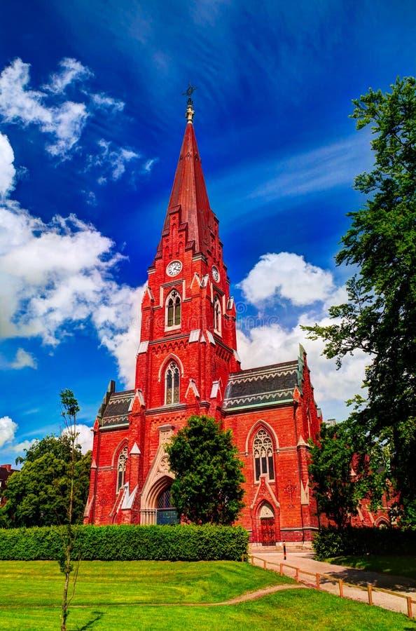 Vue extérieure à toute l'église aka Allhelgonakyrkan, Lund, Suède de saints photo stock