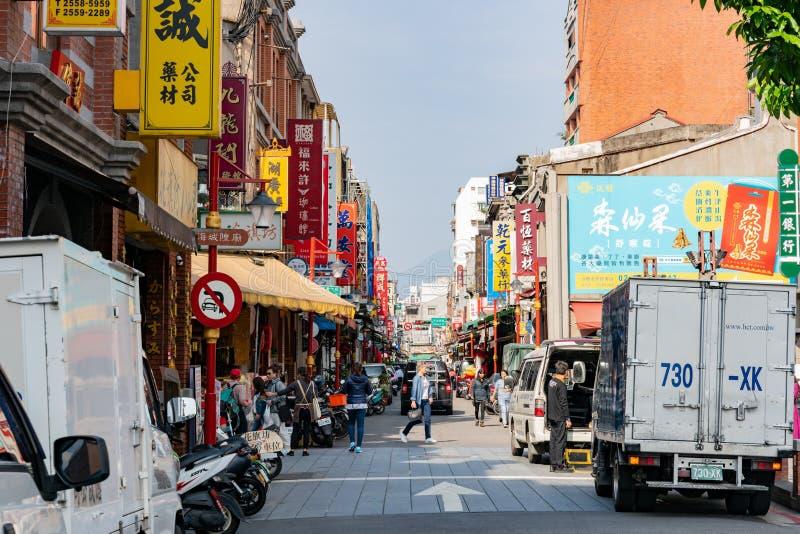 Vue ext?rieure d'beaucoup de magasins ? la rue de Dihua, Dadaocheng images libres de droits