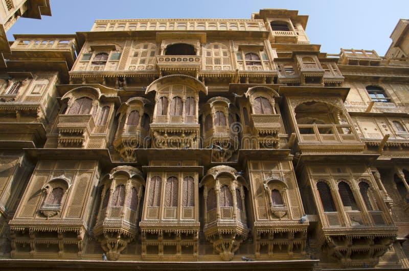 Vue externe décorative de Patwon Ki Haveli, Jaisalmer, Ràjasthàn, Inde photographie stock