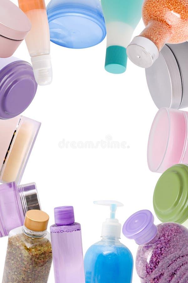 Vue faite de produits de beauté photos stock