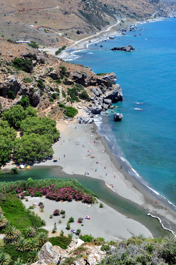 Vue fantastique de plage de Preveli photos stock