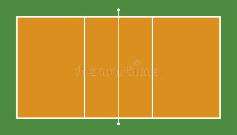 Vue frontale de champ de volleyball Géométrique et plat illustration de vecteur