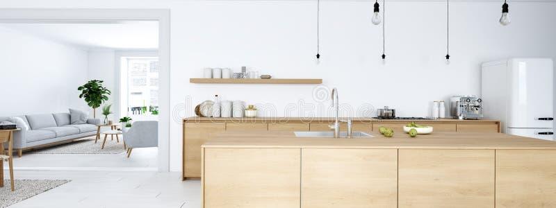Vue frontale de cuisine nordique moderne en appartement de grenier rendu 3d illustration libre de droits