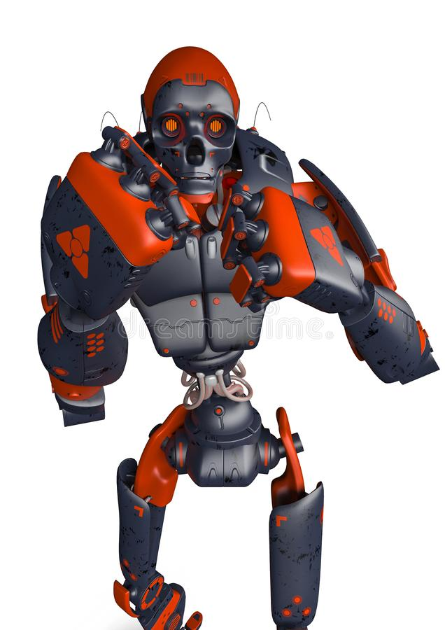 Vue frontale de robot de combat apocalyptique de wanto illustration libre de droits