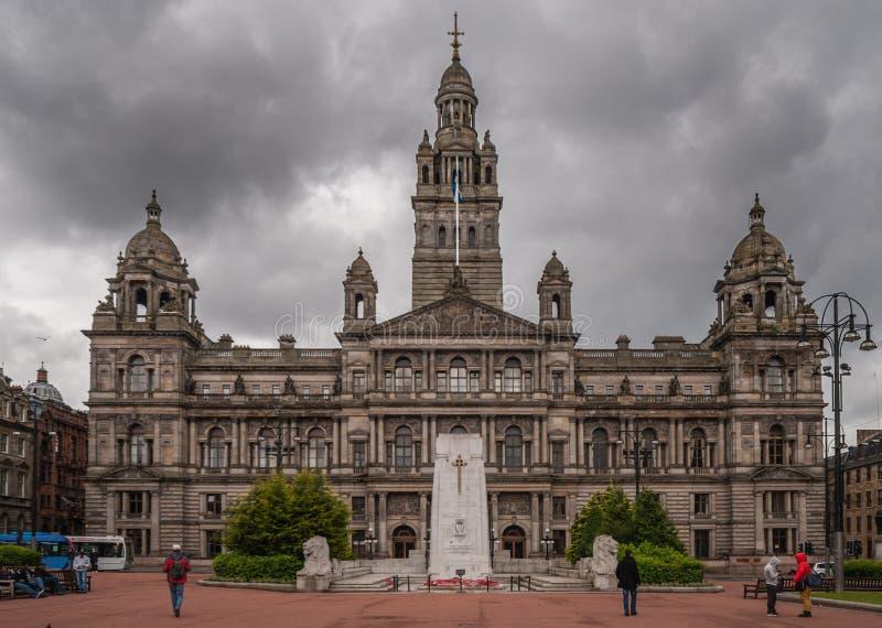 Vue frontale sur le bâtiment de Glasgow City Chambers, Ecosse R-U images libres de droits