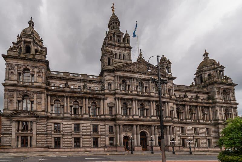 Vue frontale sur le bâtiment de Glasgow City Chambers, Ecosse R-U image libre de droits