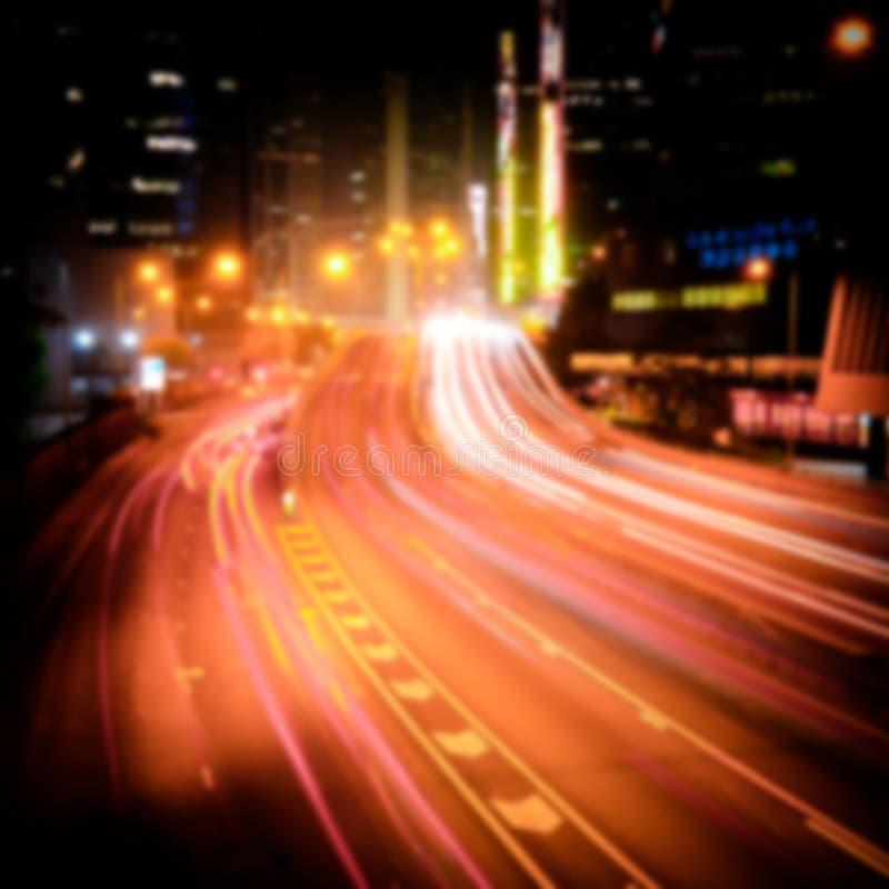 Vue futuriste de paysage urbain de nuit Hon Kong image libre de droits