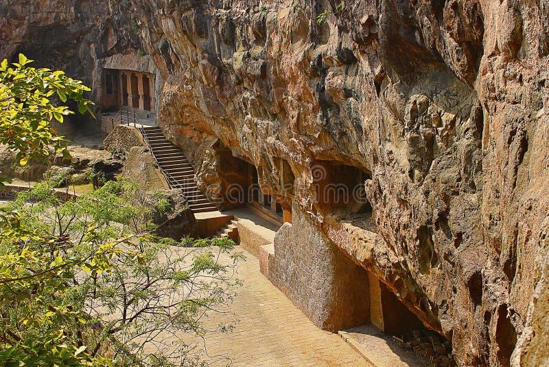 Vue générale, 2èmes cavernes d'Aurangabad de groupe, maharashtra photos libres de droits
