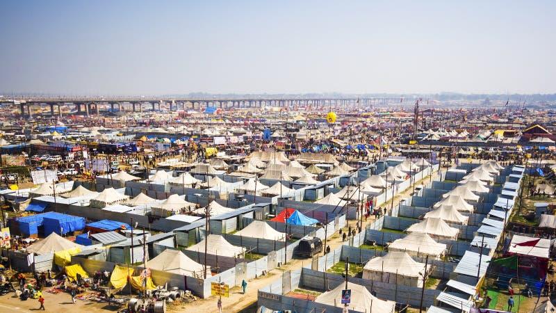 Vue générale de Kumbh Mela Festival dans Allahabad, Inde photos stock