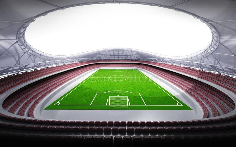 Vue générale de stade de football avec le fond blanc illustration de vecteur