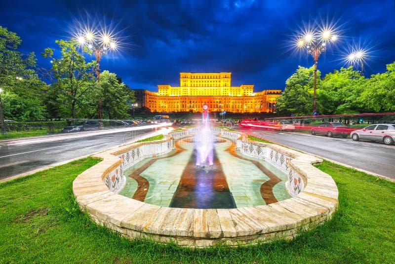 Vue ?galisante dramatique du palais de la ville de Bucarest du Parlement photo libre de droits