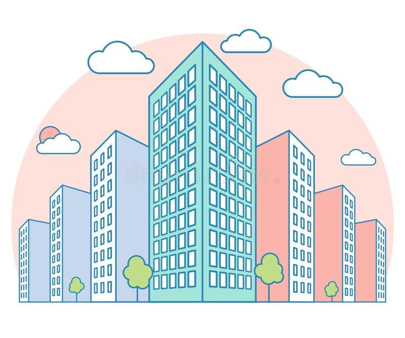 Vue gentille de paysage de ville avec de hauts bâtiments, nuages, arbres sur le coucher du soleil, maison moderne résidentielle e illustration stock