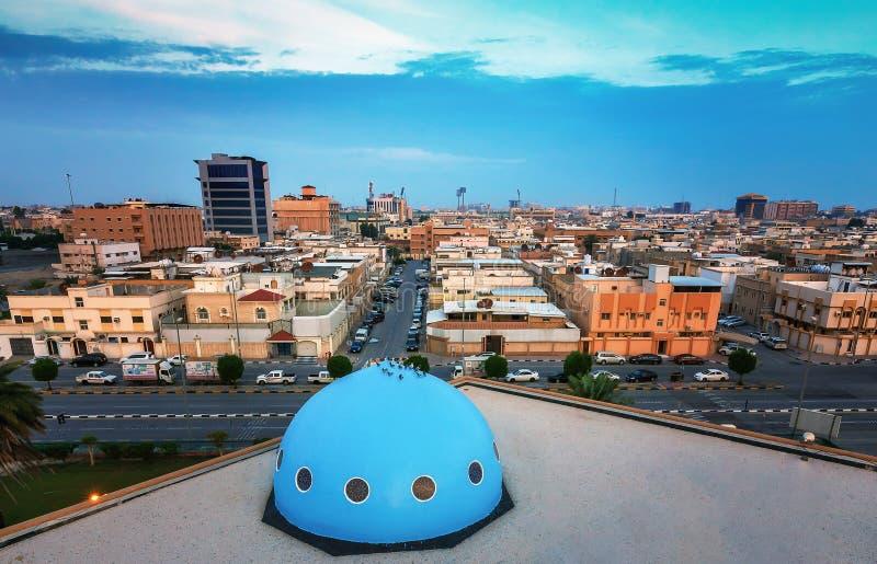 Vue grande-angulaire de rue de Dammam - Dammam Arabie Saoudite photo stock