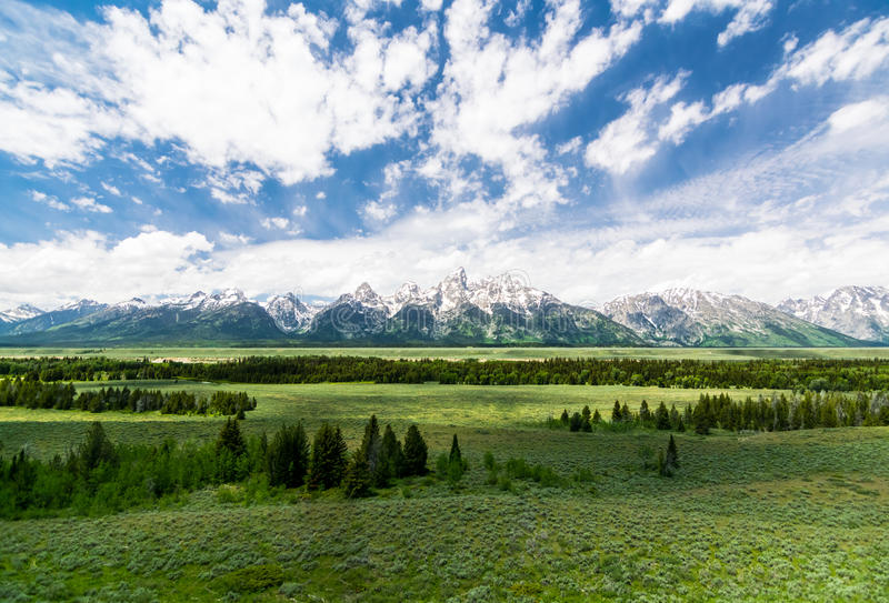 Vue grande de parc national de teton grand photographie stock