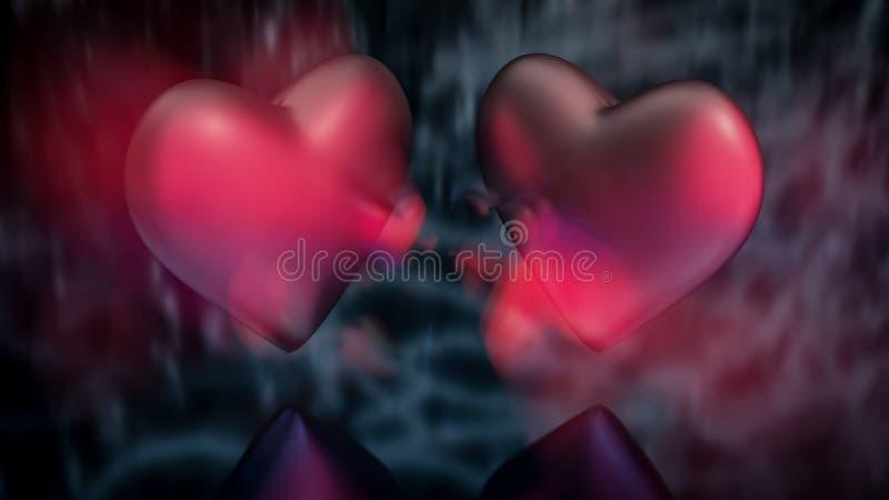 Vue haute étroite de deux coeurs au-dessus de refléter la surface brouillée Effet de Ghost illustration stock