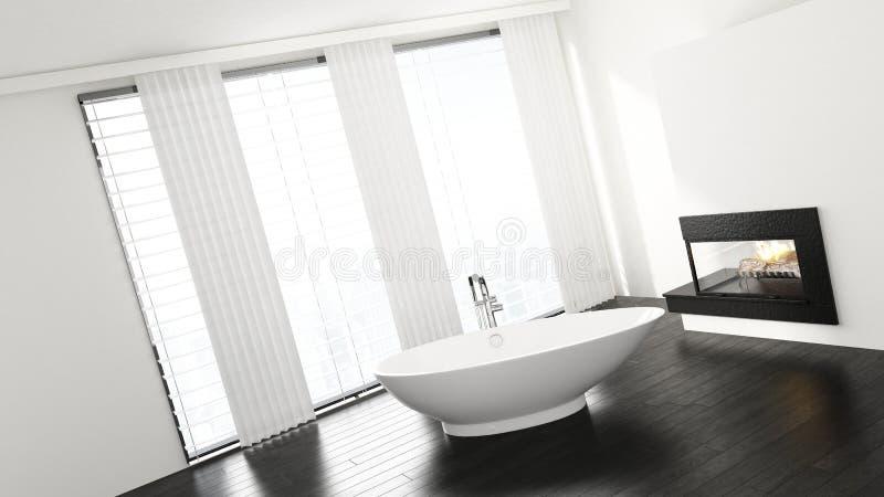 Vue inclinée de baignoire dans la salle de bains minimaliste illustration de vecteur