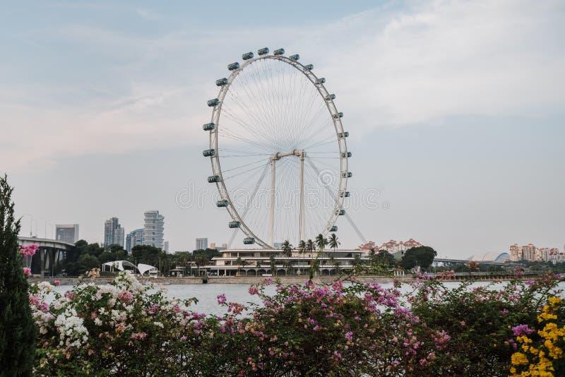 Vue incroyablement belle de la baie de Singapour Paysage urbain de la m?tropole asiatique B?timents et structures modernes highes image libre de droits