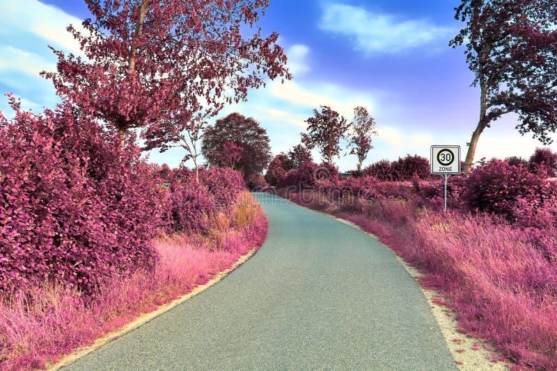 Vue infrarouge de stupéfaction sur des paysages pourpres d'imagination avec quelques routes d'ashpalt images libres de droits
