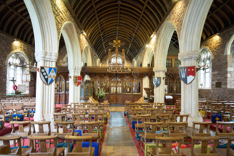 Vue intérieure d'église de Cockington à Torquay photographie stock