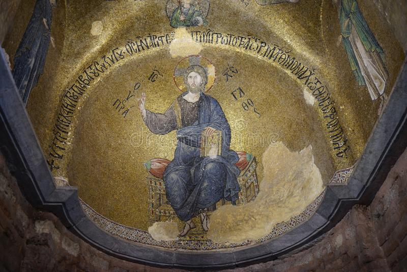 Vue intérieure de mosaïque de bizantyn dans Fethyie Istanbul photos libres de droits
