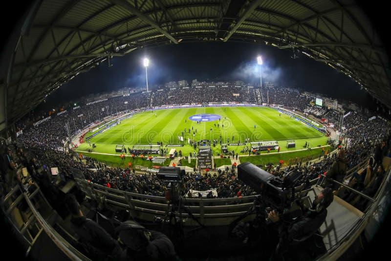 Vue intérieure du plein au stade de Toumba, Grec Superleague m photos stock