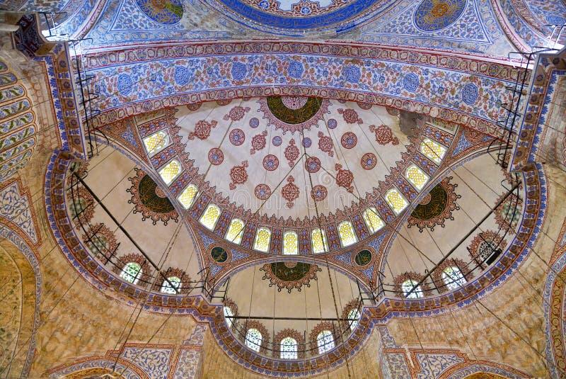Vue interne de mosquée bleue, images libres de droits