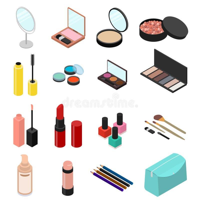 Vue isométrique cosmétique d'ensemble de produits Vecteur illustration de vecteur