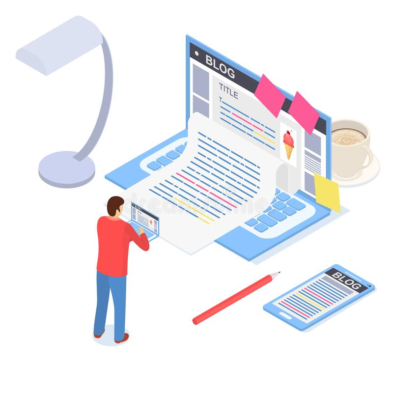 Vue isométrique créative du concept 3d de courrier de blog Vecteur illustration libre de droits
