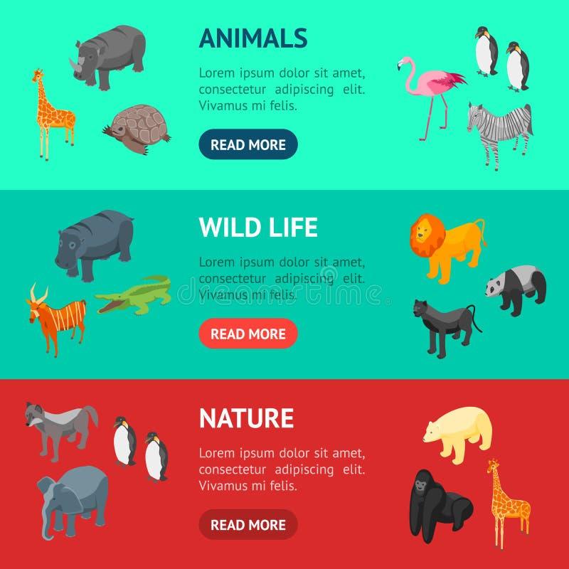 Vue isométrique d'ensemble horizontal de bannière des animaux sauvages 3d Vecteur illustration libre de droits