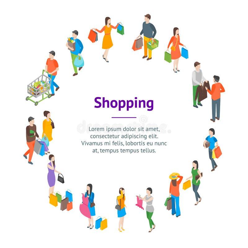Vue isométrique de achat de cercle de carte de bannière des personnes 3d Vecteur illustration de vecteur