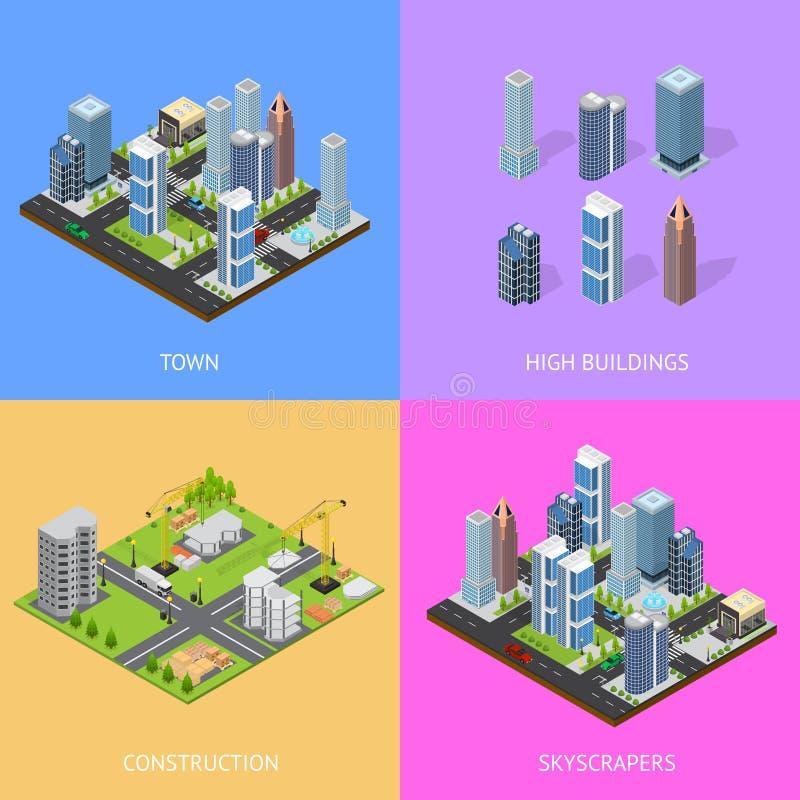Vue isométrique de cartes en liasse d'affiche de bâtiment de construction de paysage de ville Vecteur illustration stock