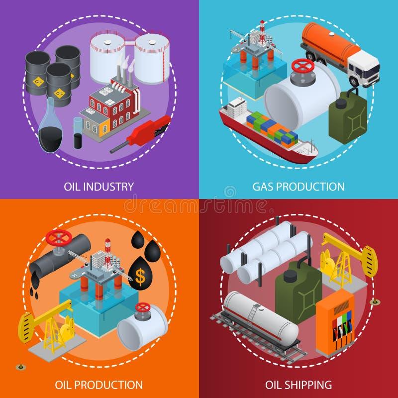 Vue isométrique de cartes en liasse d'affiche d'industrie pétrolière et de ressource énergétique Vecteur illustration de vecteur