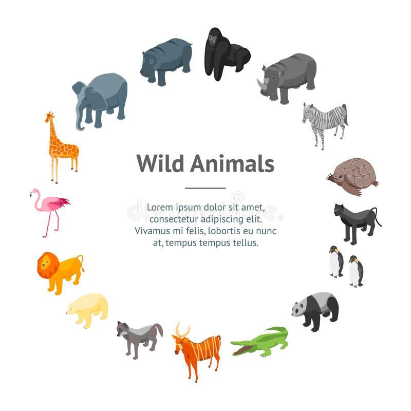 Vue isométrique de cercle de carte de bannière des animaux sauvages 3d Vecteur illustration libre de droits