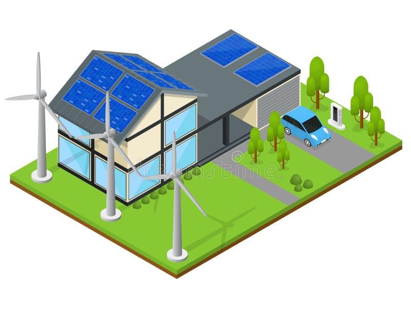 Vue isométrique de Chambre verte d'Eco Vecteur illustration de vecteur
