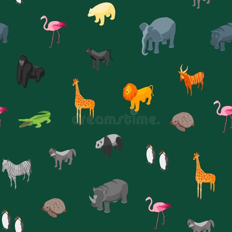 Vue isométrique de fond sans couture de modèle d'animaux sauvages Vecteur illustration libre de droits
