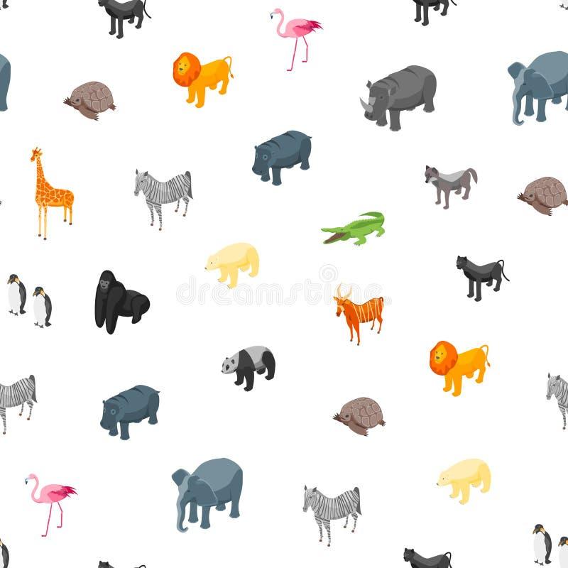 Vue isométrique de fond sans couture de modèle des animaux sauvages 3d Vecteur illustration de vecteur