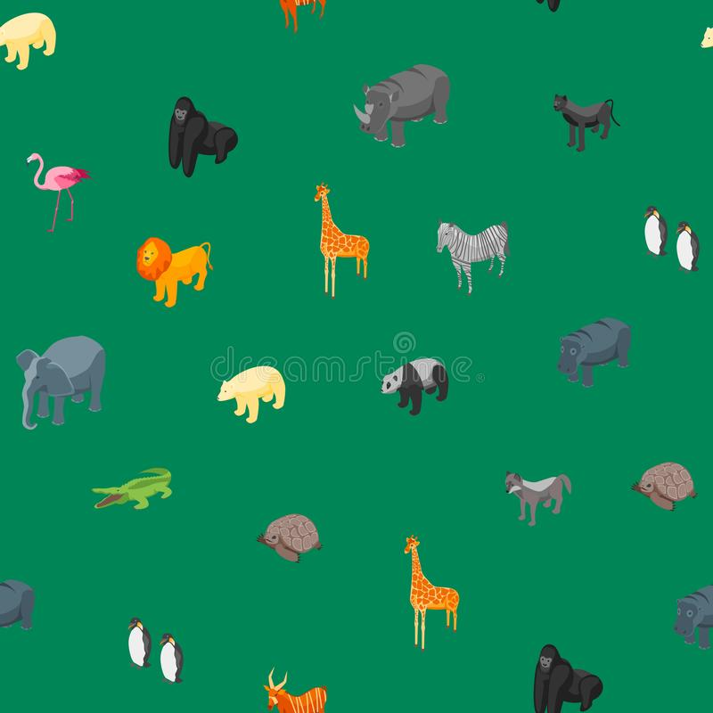 Vue isométrique de fond sans couture de modèle des animaux sauvages 3d Vecteur illustration libre de droits
