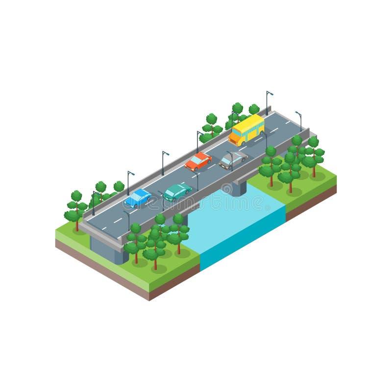 Vue isométrique de pont de rivière Vecteur illustration libre de droits