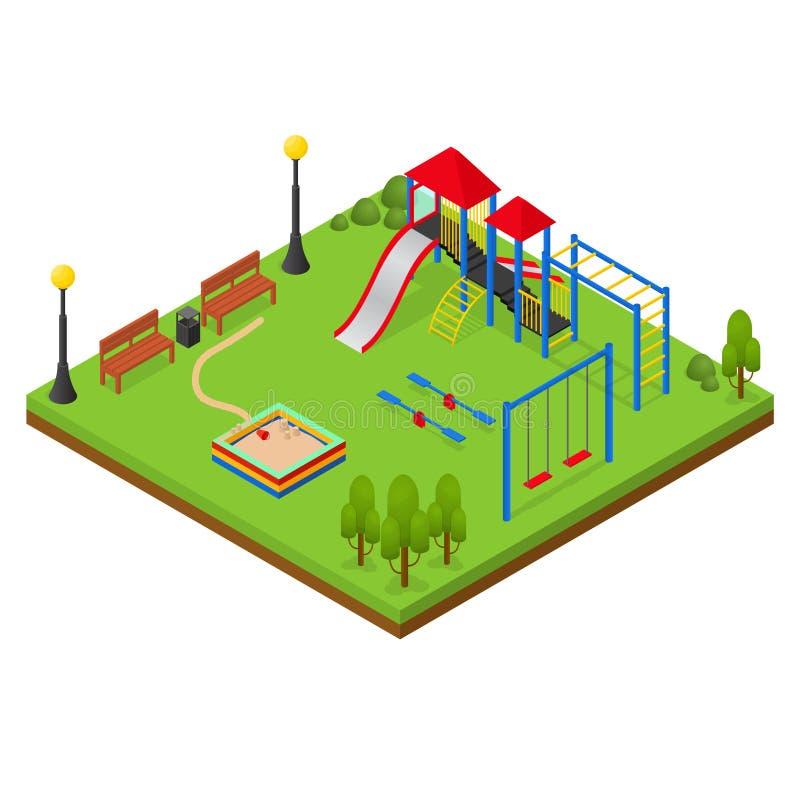 Vue isométrique de terrain de jeu extérieur Vecteur illustration libre de droits